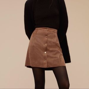 Aritzia Wilfred Free Suede Button mini skirt